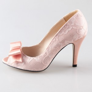 Pink Wedding Shoes Lace Heels Peep Toe Pumps with Bow