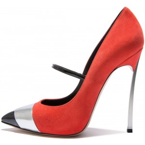 Women's Red Suede Mary Jane Pointy toe Super Stiletto heels Pumps