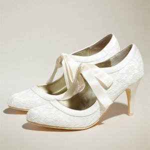 White Wedding Shoes Lace Heels Tie up Pumps for Bride