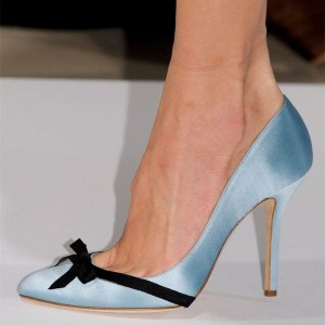 Women's Cute Light Blue Stiletto Heels Pointy Toe Pumps With Black Bows