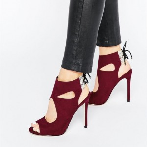 Burgundy Heels Peep Toe Slingback Cut out Stiletto Heel Summer Boots