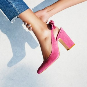Pink Bow Suede Slingback Shoes Chunky Heels Commuting Pumps