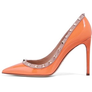 Orange 5 Inches Stiletto Heels Patent Leather Pumps with Gold Rivets