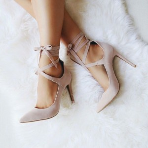 Blush Strappy Heels Pointy Toe Lace up Suede Stiletto Pumps