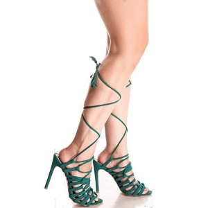 Women's Dark Green Stiletto Heel Strappy Sandals Gladiator Heels