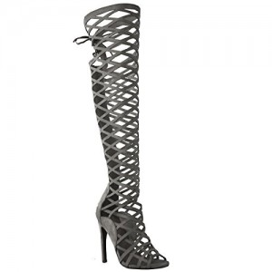 Dark Grey Hollow-out Knee-high Stiletto Heel Sandals Gladiator Heels
