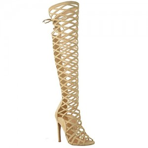Khaki Gladiator Heels Hollow out Caged Knee-High Stiletto Heel Sandals