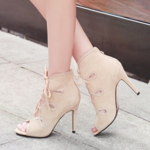 Beige Lace up Sandals Open Toe Stiletto Heels Summer Boots