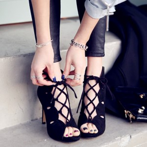 Black Lace up Sandals Open Toe Stiletto Heels Summer Boots