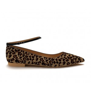 Women's Brown Suede Ankle Strap Leopard Print Flats