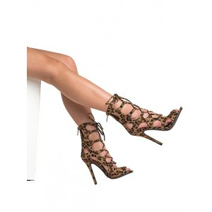 Women's Hollow-out Stiletto Heel Leopard Print Heels Lace Up Sandals