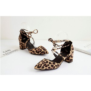 Women's Chunky Heel Sandals Leopard Print Heels Ankle Strap Sandals