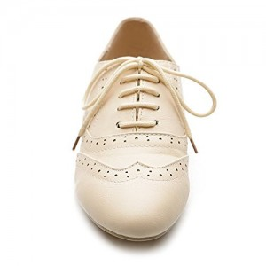 Ivory Wingtip Women's Oxfords Lace up Round Toe Flat School Shoes