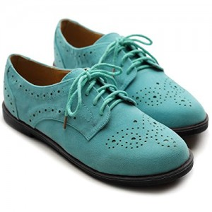 Turquoise Lace up Flats Women's Oxfords Comfortable Vintage Shoes