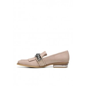 Blush Suede Round Toe Flat Loafers for Women