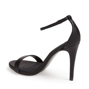 Women's Black Sexy Ankle Strap Sandals Open Toe Stiletto Heels