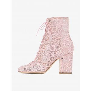 Pink Lace Chunky Heel Boots Mesh Lace up Ankle Booties