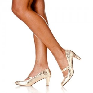 Champagne Sparkly Heels Mary Jane Pumps Python Vintage Shoes for Women