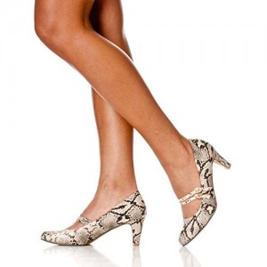 Women's Brown Python Mary Jane Pumps Mid Heel Pumps Vintage Shoes