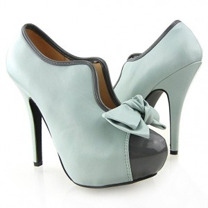 Turquoise Bow Vintage Shoes Stiletto Heels Platform Ankle Booties