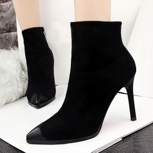 Black Stiletto Boots Retro Pointy Toe Suede Ankle Booties