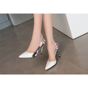 White Floral Heels Pointy Toe D'orsay Pumps Women's Stiletto Heels
