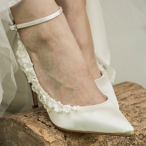 White Bridal Heels Satin Floral Ankle Strap Wedding Shoes