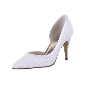 White Wedding Shoes Lace Heels D'orsay Pumps for Bridal