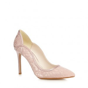 Pink Bridal Shoes Lace Heels Stiletto Pumps for Wedding