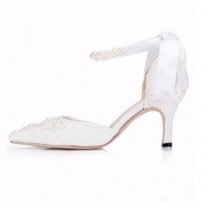 White Wedding Shoes Ankle Strap Lace Heels for Bride