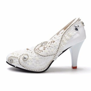White Bridal Shoes Floral Lace Heels Rhinestone Chunky Heel Pumps
