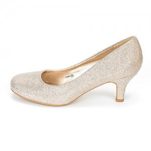 Champagne Low-Cut Uppers Low Heel Wedding Shoes