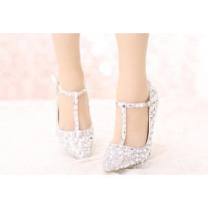 White Pointed Toe T-strap Crystal Heels Stiletto Heel Wedding Shoes