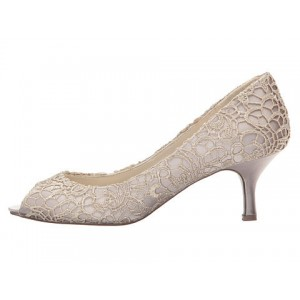 Nude Bridal Shoes Lace Heels Peep Toe Kitten Heel Pumps for Wedding