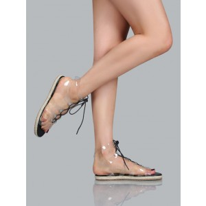 Women's Clear Lace up Sandals Comfortable Strappy Flats