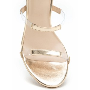 Champagne Clear Heels Open Toe Block Heel Sandals