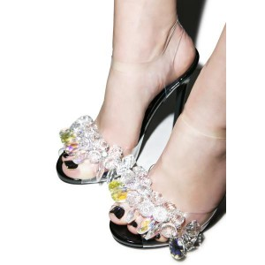 PVC Rhinestone Heels Peep Toe Stiletto Heel Clear Sandals