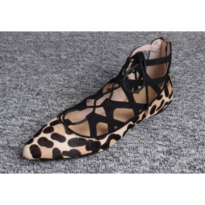Leopard Print Flats Suede Lace Up Comfortable Shoes US Size 3-15