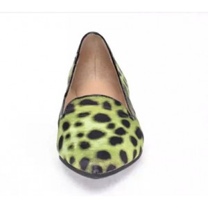 Women's Light Green Pointed Toe Leopard Print Flats