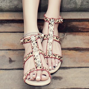 Leopard Print Flats Open Toe T Strap Sandals with Rhinestones