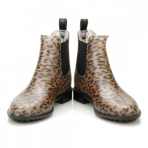 Leopard Print Boots Round Toe Slip-on Chelsea Boots US Size 3-15