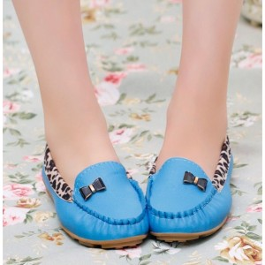 Blue Round Toe Leopard Flats Comfortable Loafers for Women