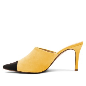 Yellow and Black Two-tone Stiletto Heels Mule