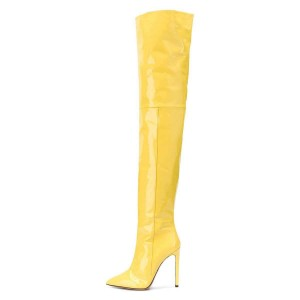 Yellow Patent Leather Thigh High Heel Boots